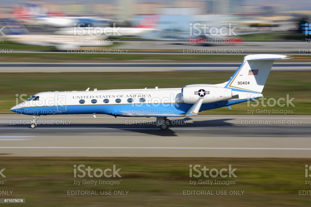 ISTANBUL, TURKEY - MARCH 19, 2014: Gulfstream Aerospace C-37A of US air force taking off at Ataturk international airport. stock photo