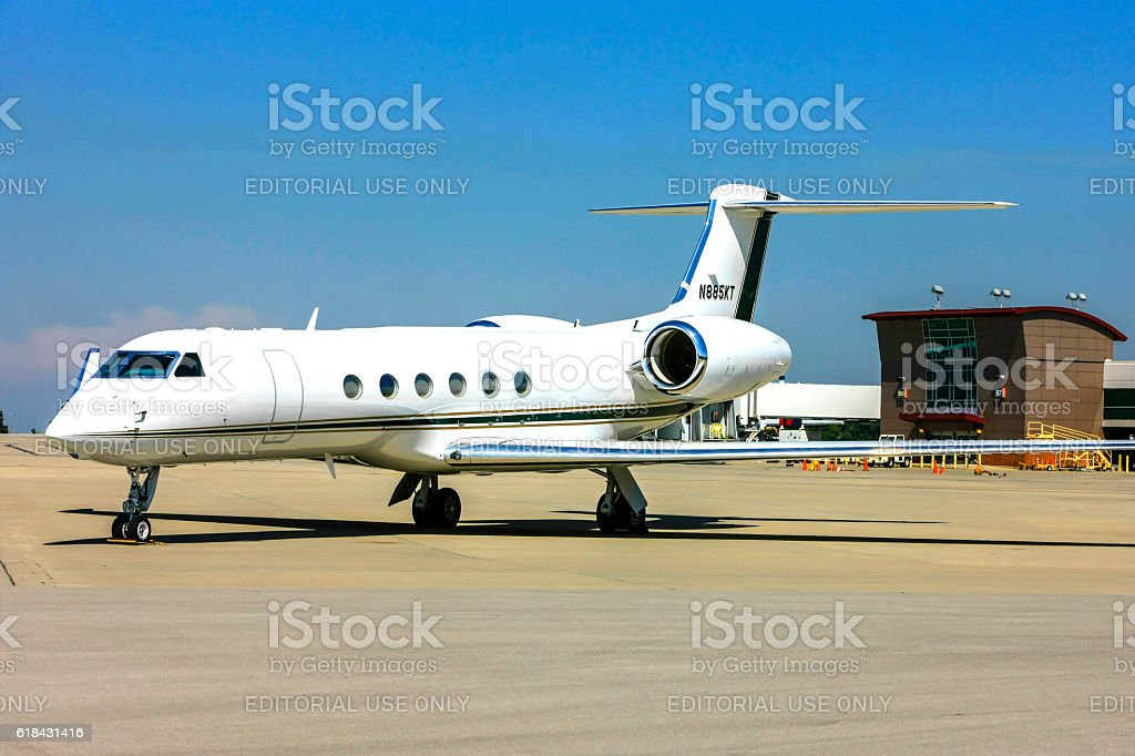 Gulfstream Aerospace G-V corporate jet at Blue-Grass Airport, Lexington Kentucky stock photo