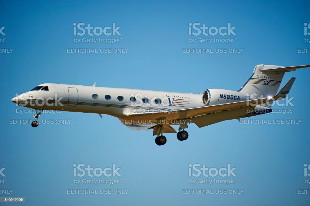 Gulfstream G V landing at Prague Vaclav Havel airport stock photo