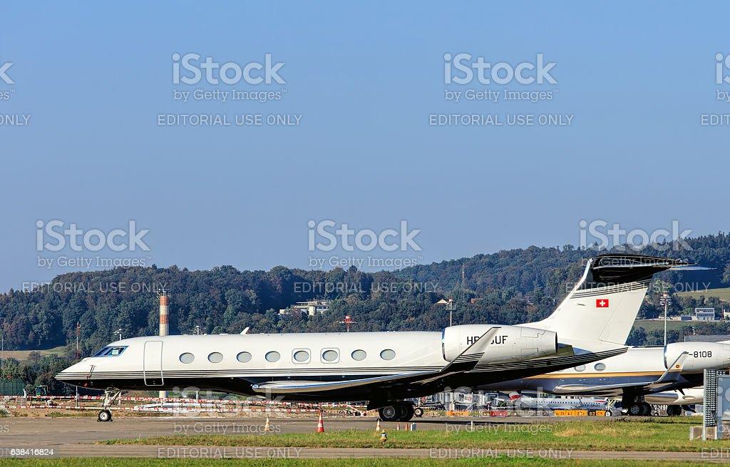 Gulfstream G650 jet in the Zurich Airport stock photo