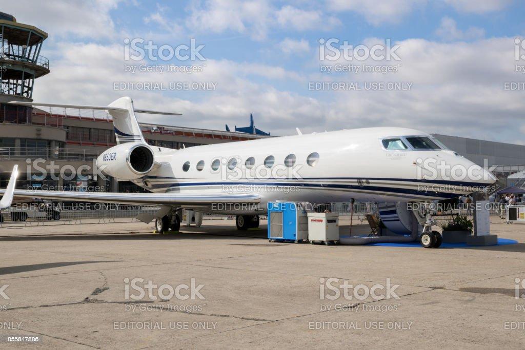 Gulfstream G650ER business jet stock photo