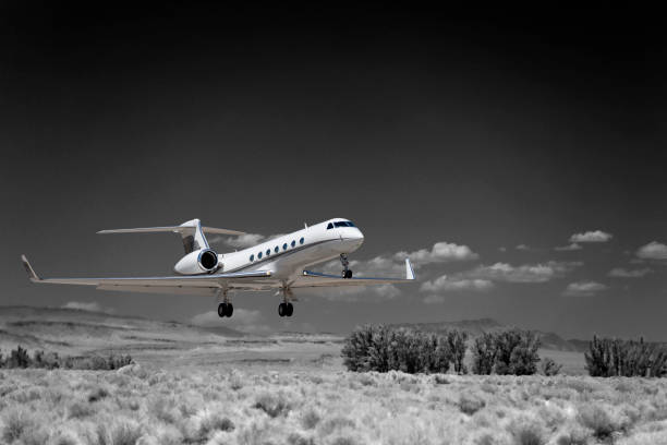 Gulfstream G-V at Bishop Airport (KBIH) Bishop, California, USA stock photo