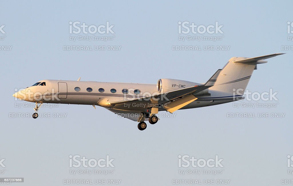 Gulfstream landing at Hong Kong stock photo