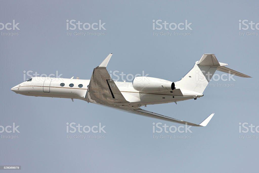 Gulfstream Luxury twin engine Business Jet flying stock photo