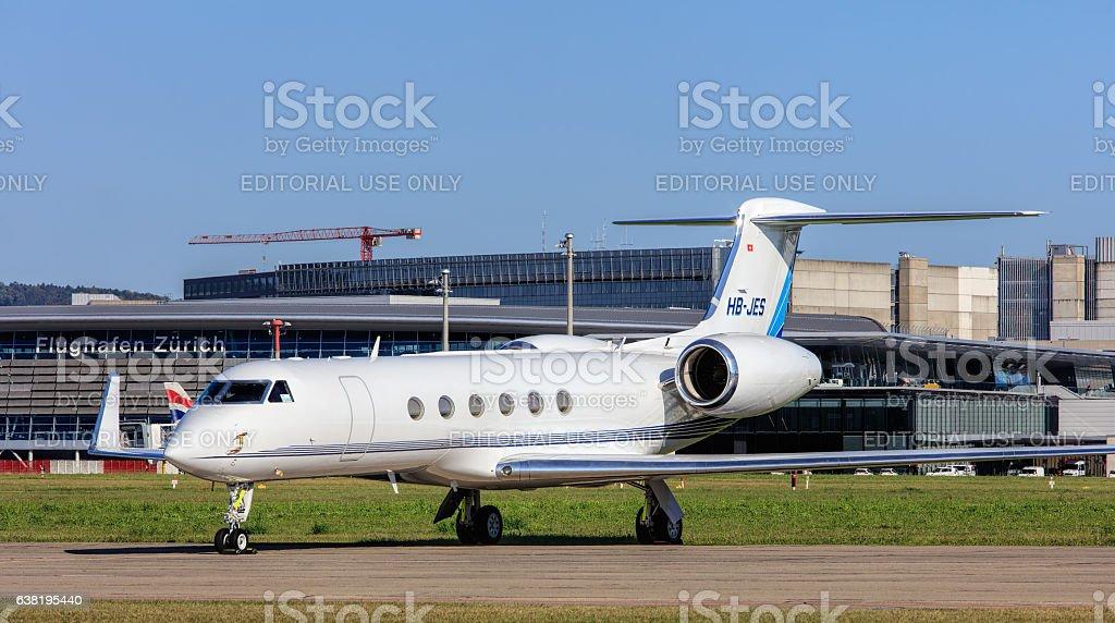 Gulfstream V jet in the Zurich Airport stock photo