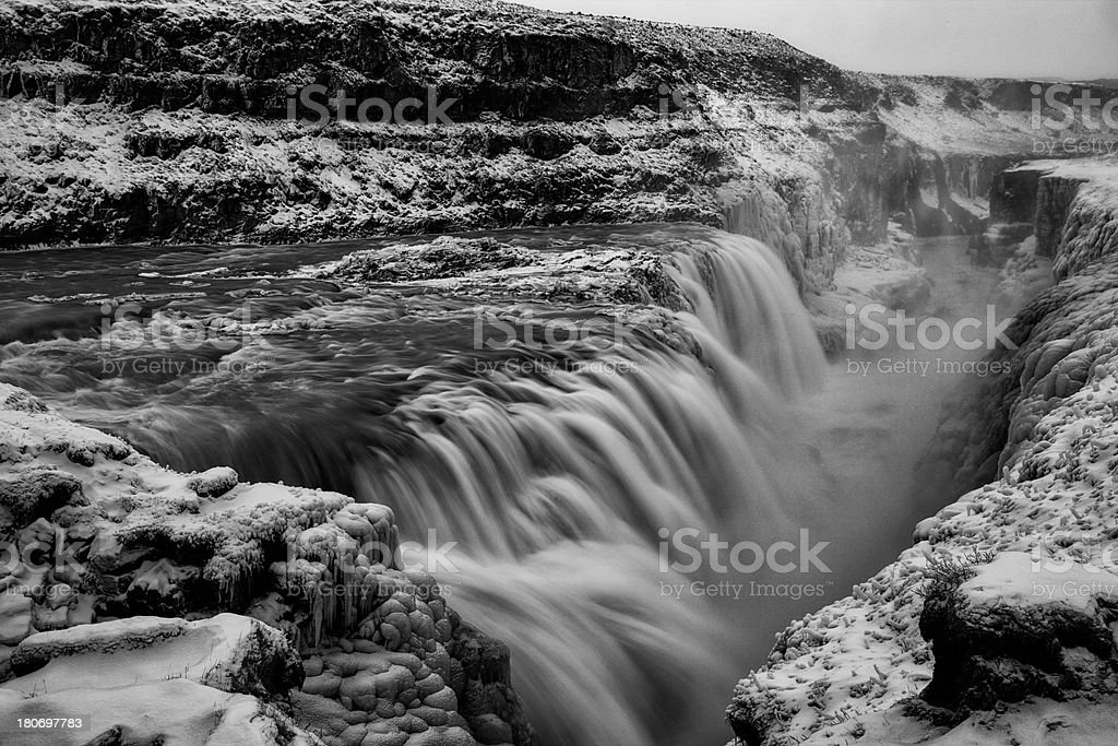 Gullfoss Waterfall, Iceland in winter (black and white) royalty-free stock photo