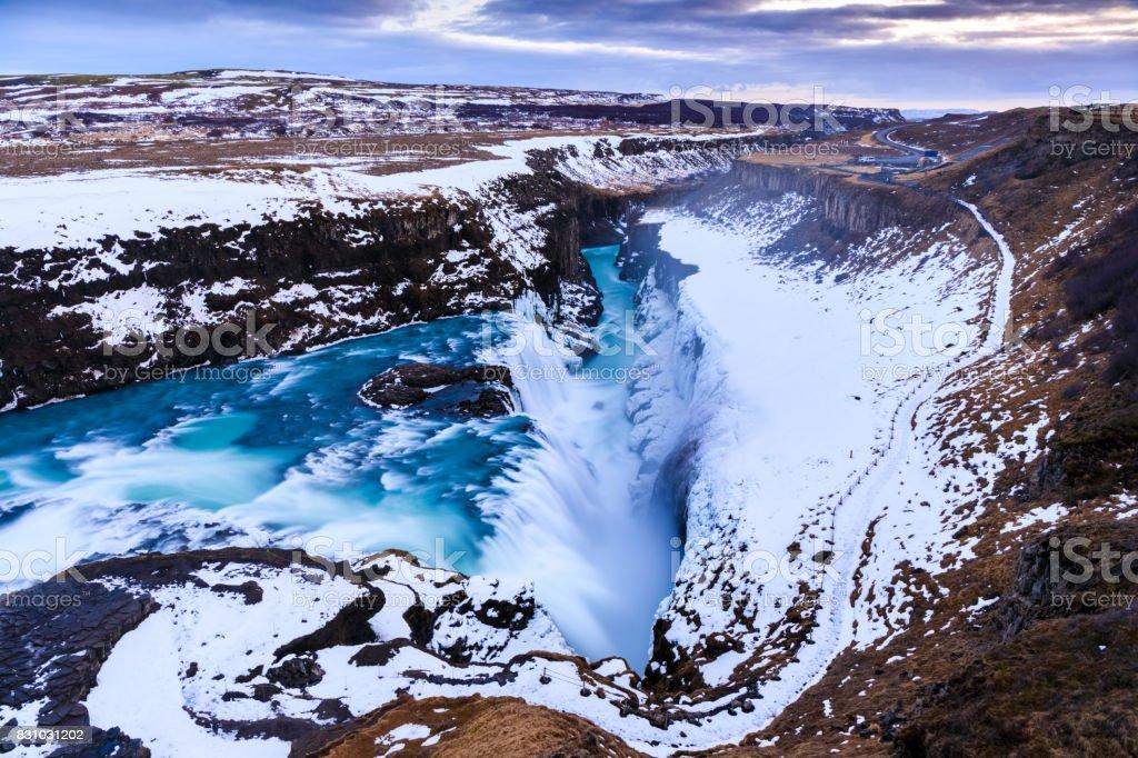 Gullfoss Wasserfall im Winter (Vogelperspektive), Island – Foto