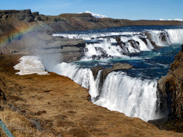 Gullfoss Waterfall with Rainbow, Iceland stock photo