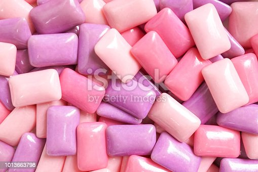 istock Gum. A various shades of pink and purple gum for food pattern and background. 1013663798