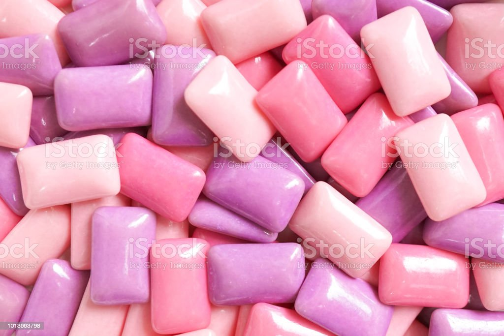 Gum. A various shades of pink and purple gum for food pattern and background. stock photo