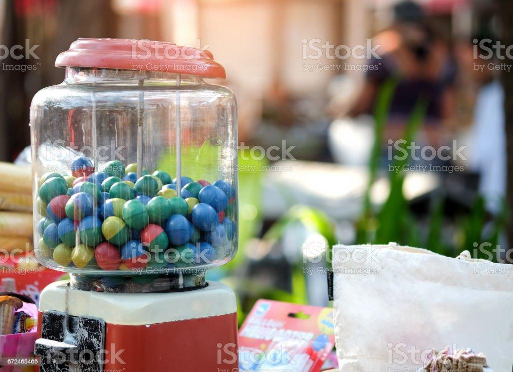 Gumball machine in the market. stock photo