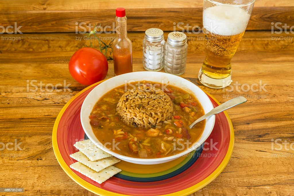 Gumbo with Beer stock photo