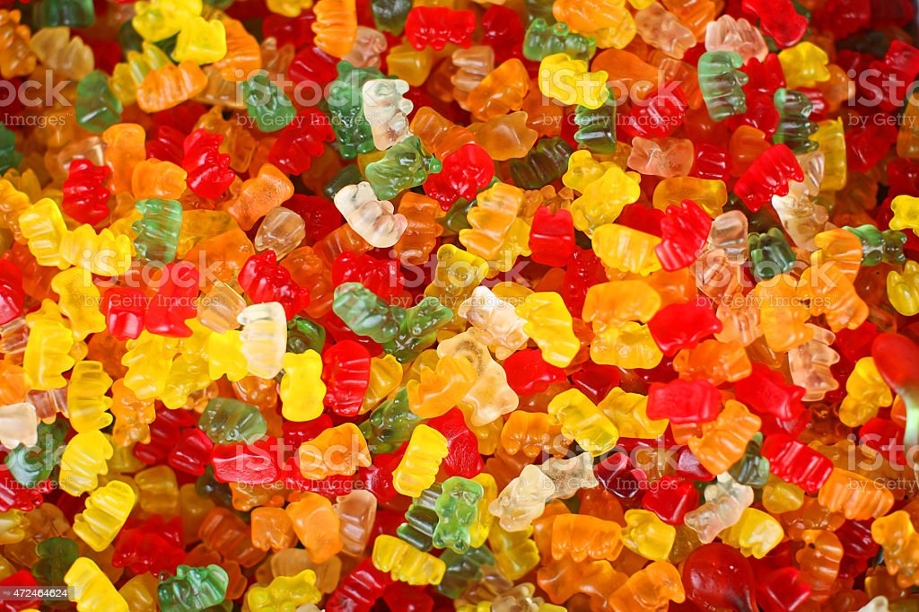 Gummy Bear Candy Colorful Background stock photo