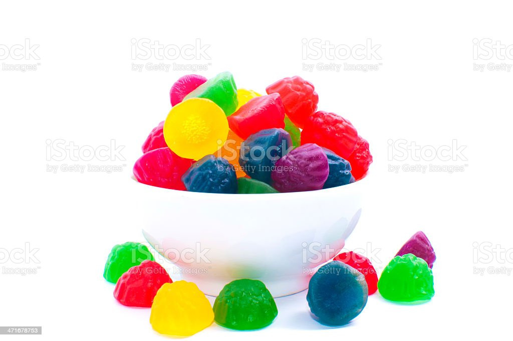 gummy bears candies in a bowl isolated on white background royalty-free stock photo