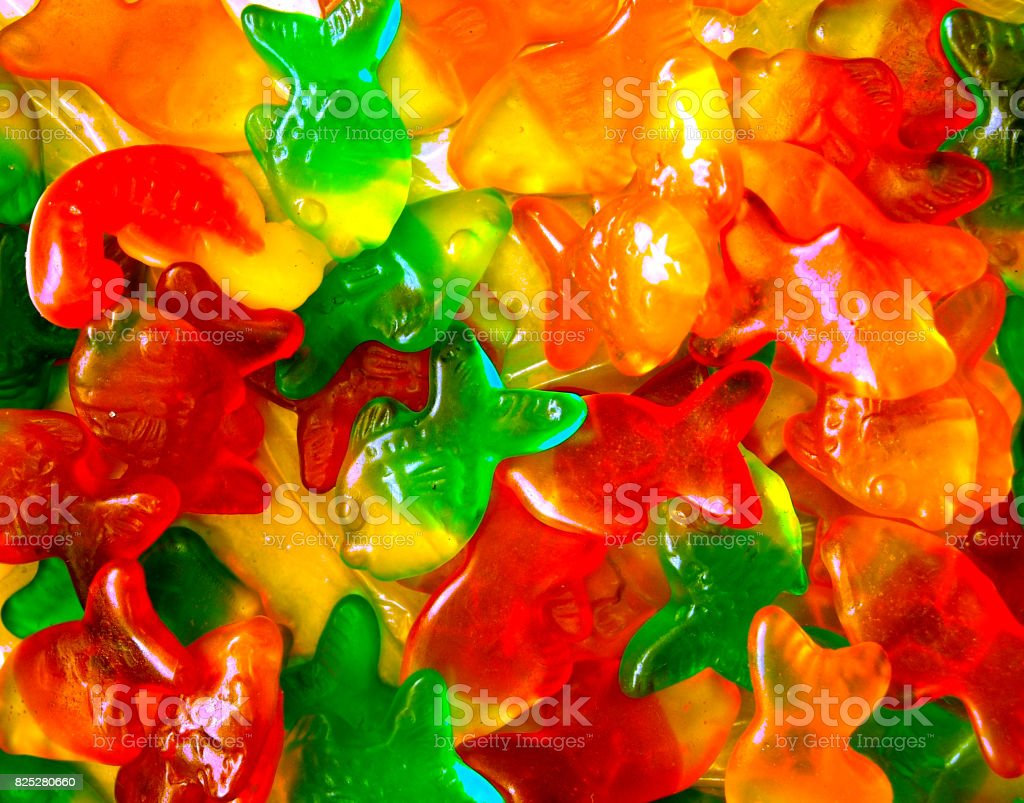 Gummy colorful fish stock photo