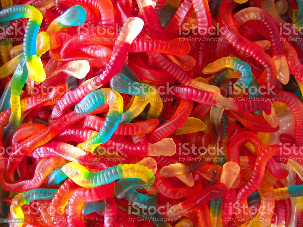 Gummy colorful worms stock photo
