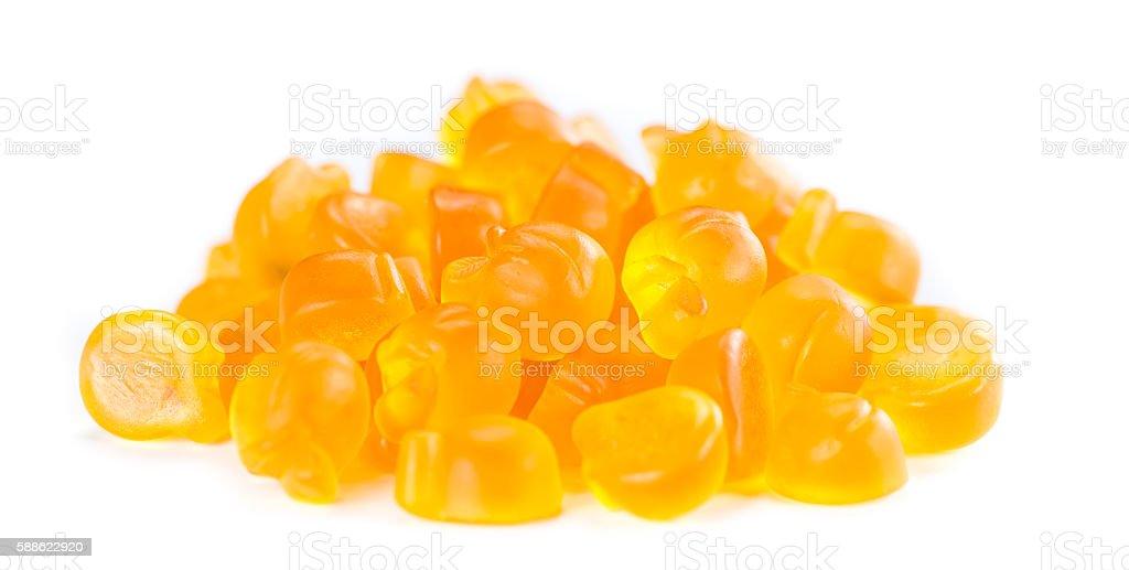Gummy Peaches on white stock photo