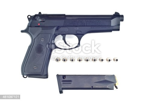 istock Gun and bullet isolated. 451097121