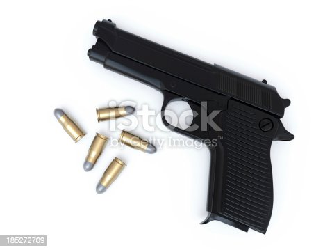 Gun and Bullets. Bullet well isolated and can be moved anywhere or used separately.