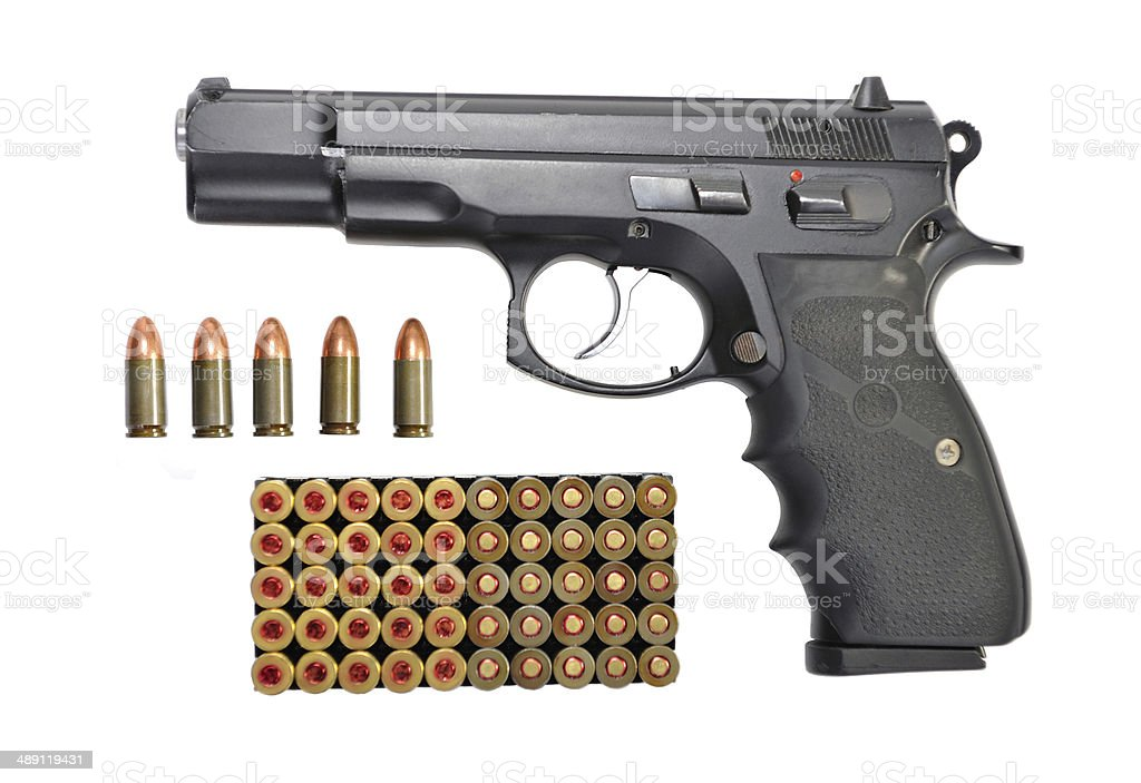 Gun and bullets set isolated on  white stock photo