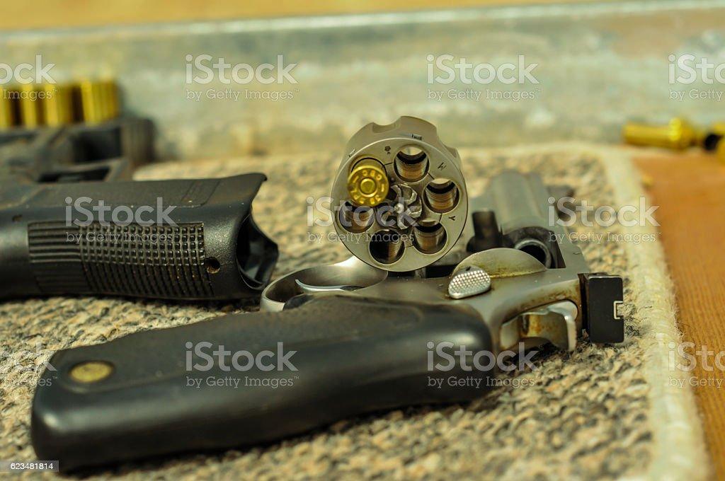 Gun and bullets#2 stock photo