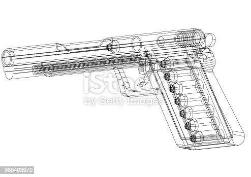 1043434568 istock photo Gun Architect blueprint - isolated 965403970