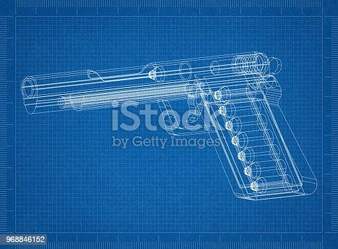 1043434568 istock photo Gun Architect blueprint 968846152