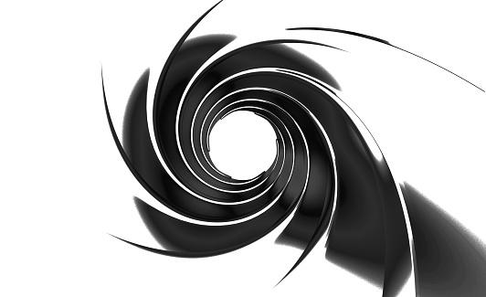 gun barrel inside 3d illustration