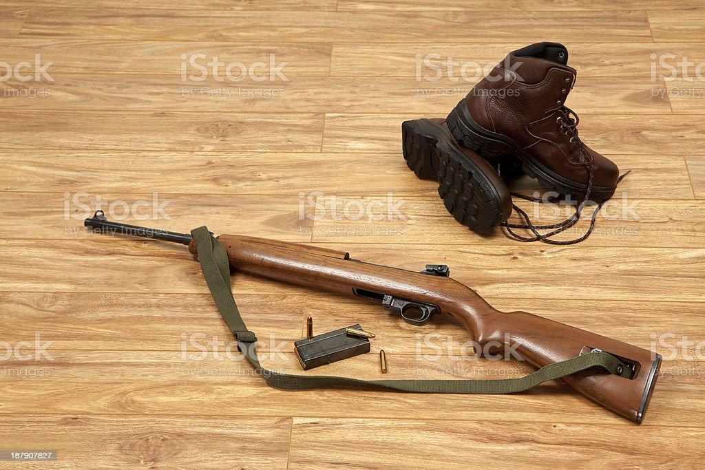 Gun boots and Ammunition stock photo