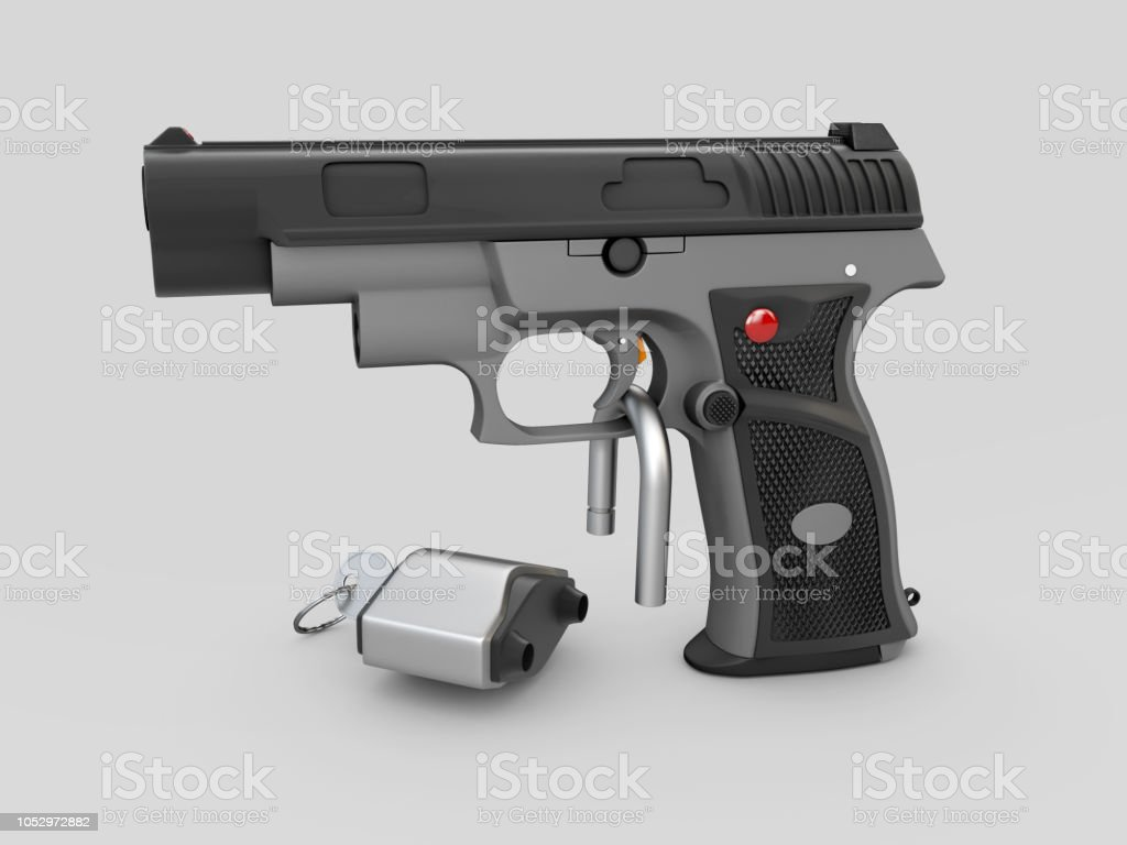 Gun Control Concept Gun 3d Illustration With Padlock