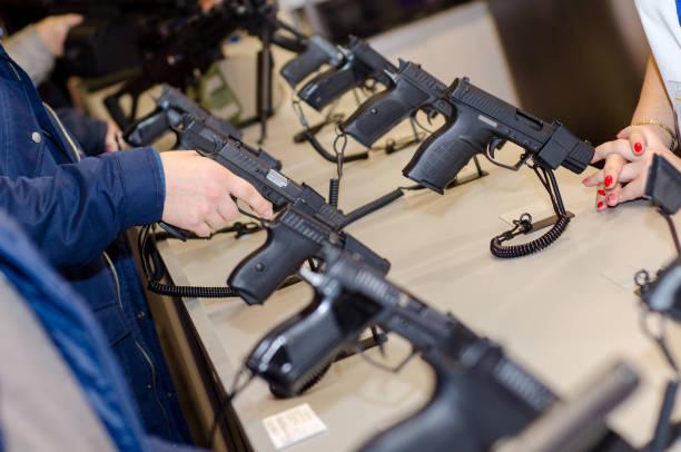 Gun Display Stands stock photo