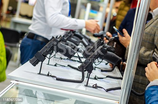 Gun Display Stands. Pistols for sale in the store.
