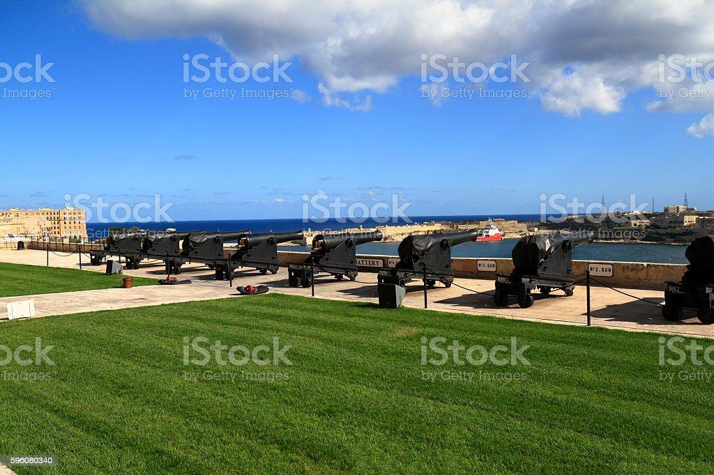Gun Fire of saluting Lascaris Battery in Valletta, Malta stock photo