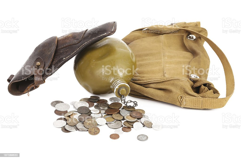 Gun flask and some coins royalty-free stock photo