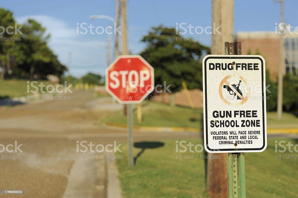 Gun free school zone stock photo