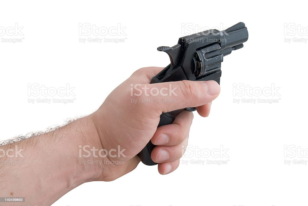 Gun in a man's hand royalty-free stock photo