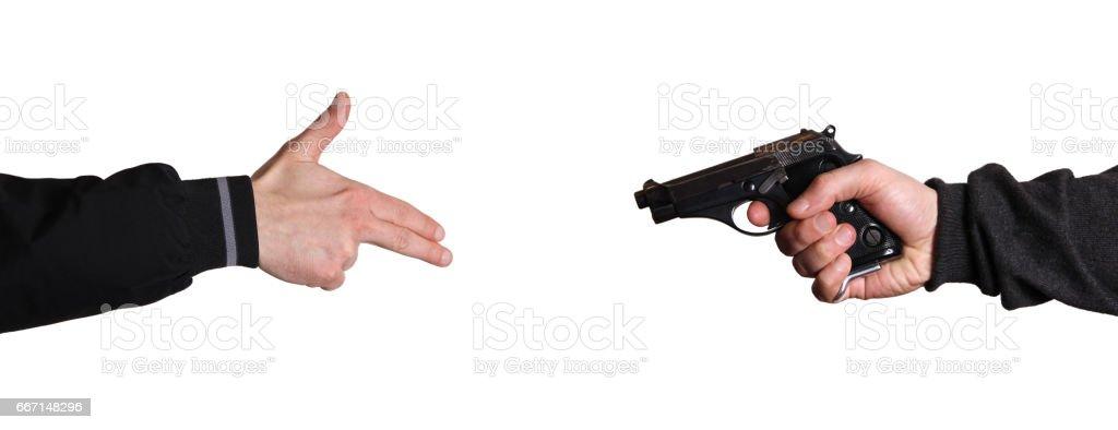 Gun in the hand stock photo