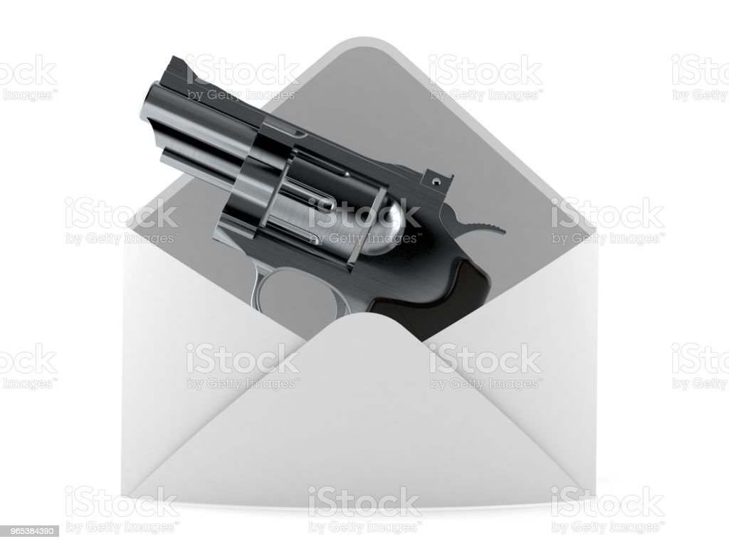 Gun inside envelope zbiór zdjęć royalty-free