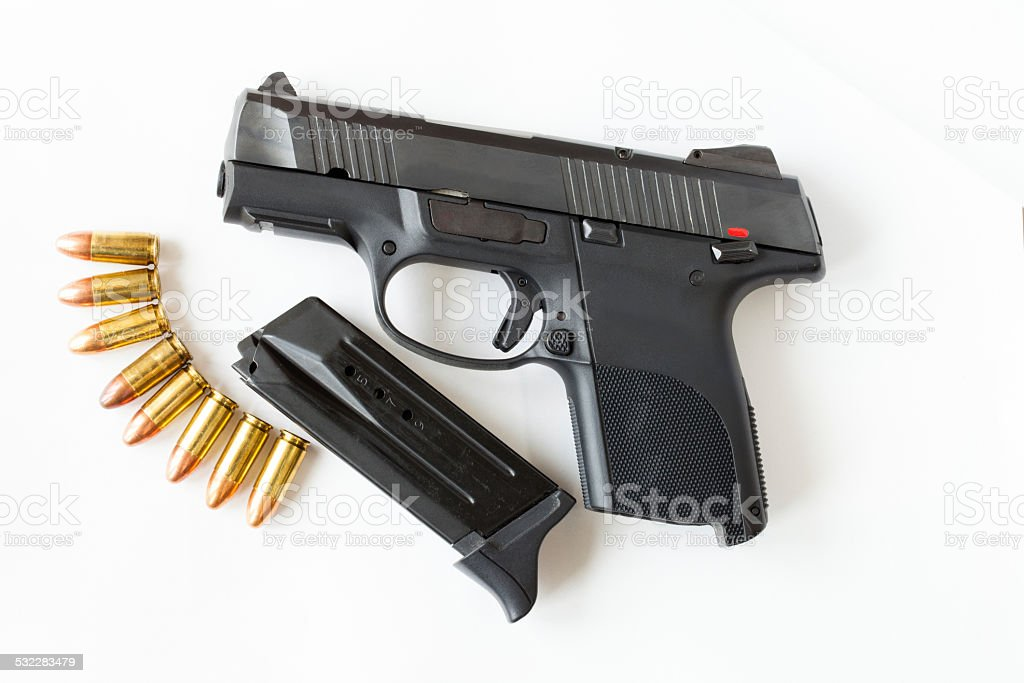 Gun on white background. stock photo