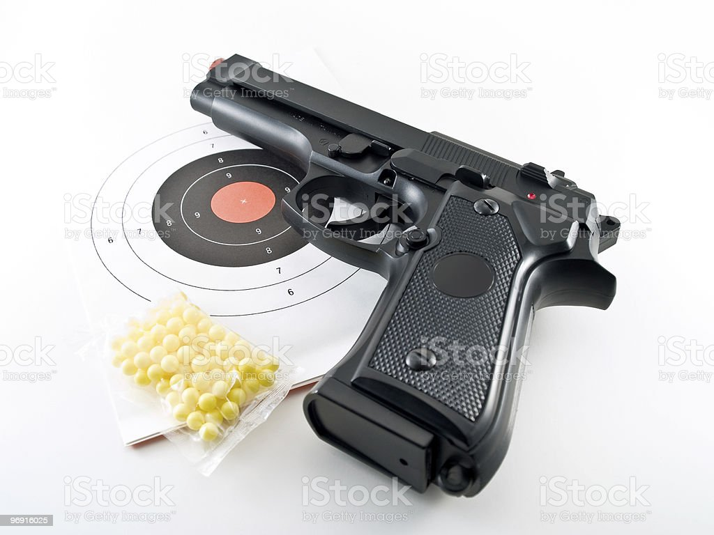 gun pistol practice set royalty-free stock photo