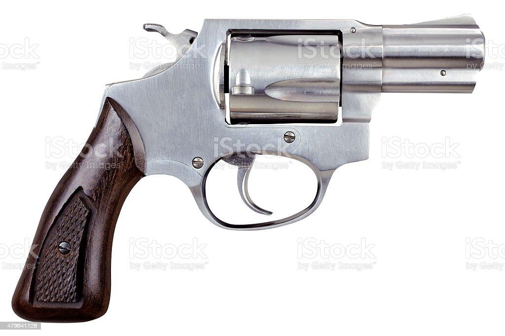 Cañón de pistola revólver aislado sobre fondo blanco - foto de stock