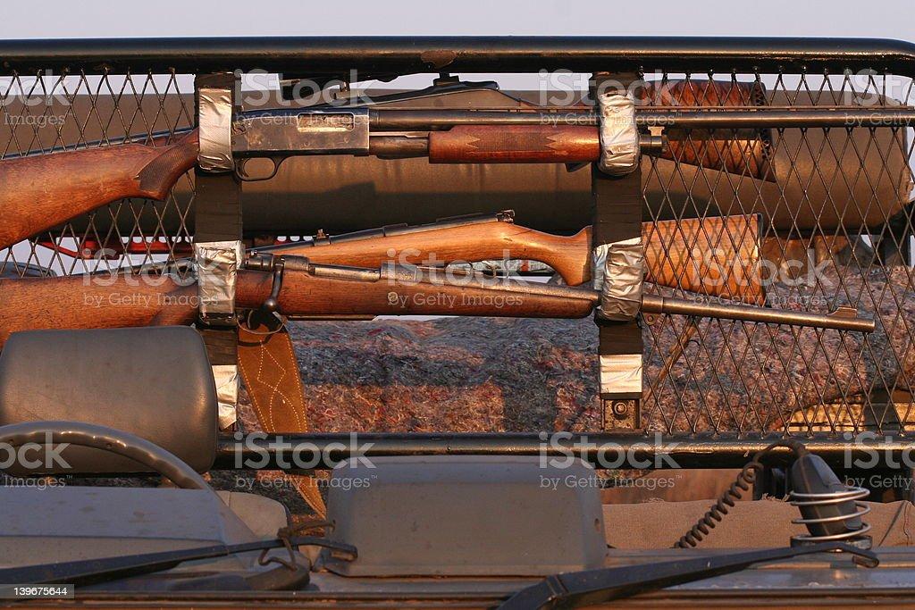gun rack on african hunting vehicle royalty-free stock photo