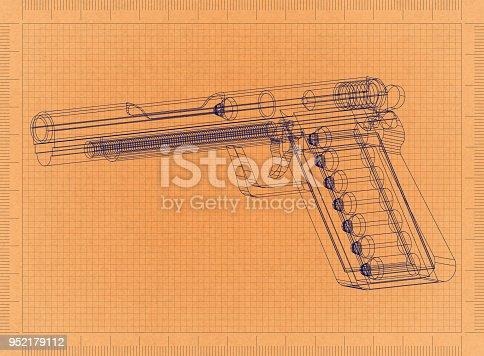 1043434568 istock photo Gun - Retro Blueprint 952179112