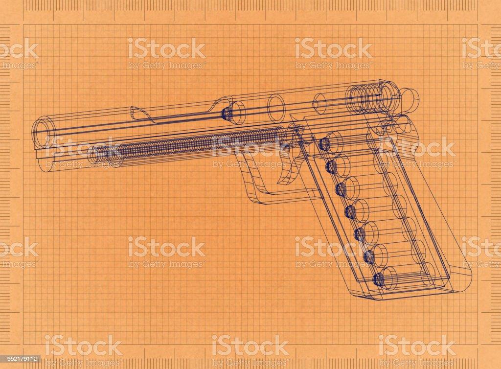Gun - Retro-Blueprint – Foto