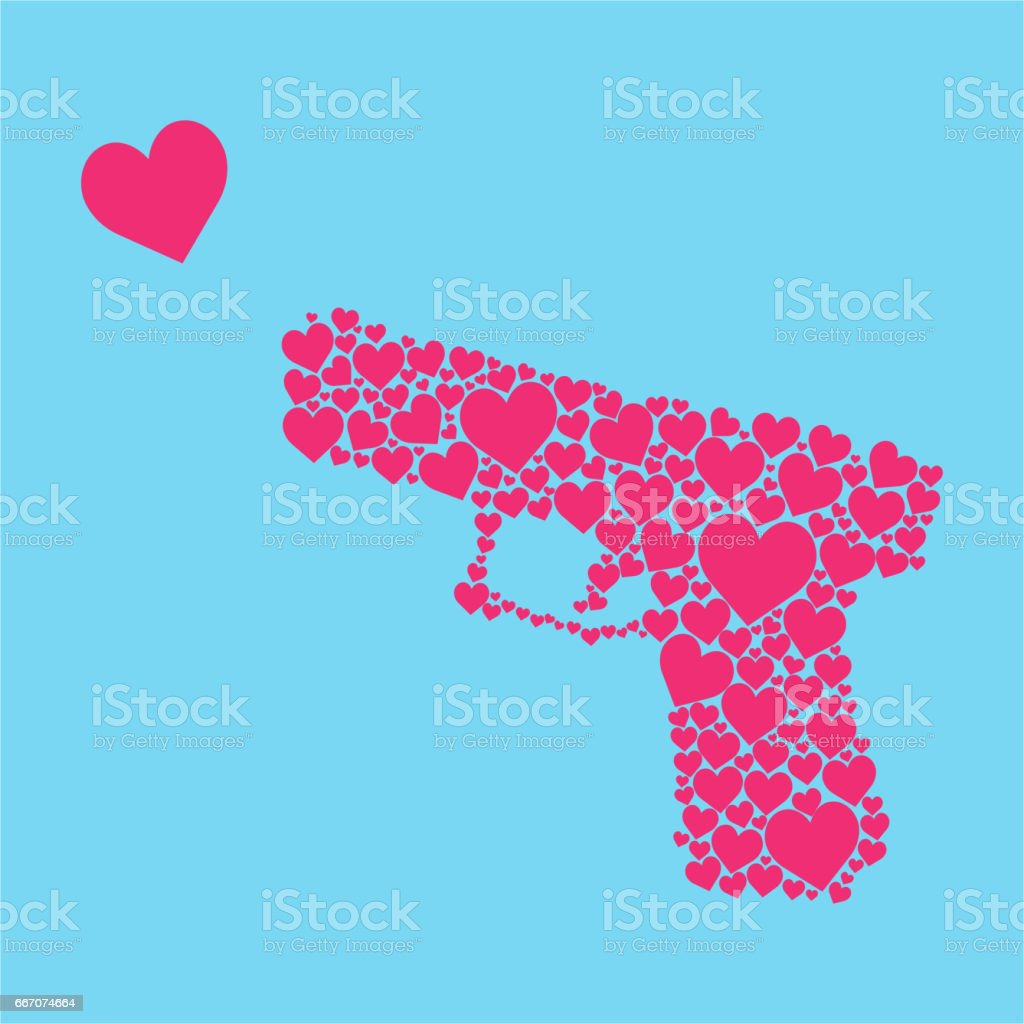 gun shape with love icon stock photo