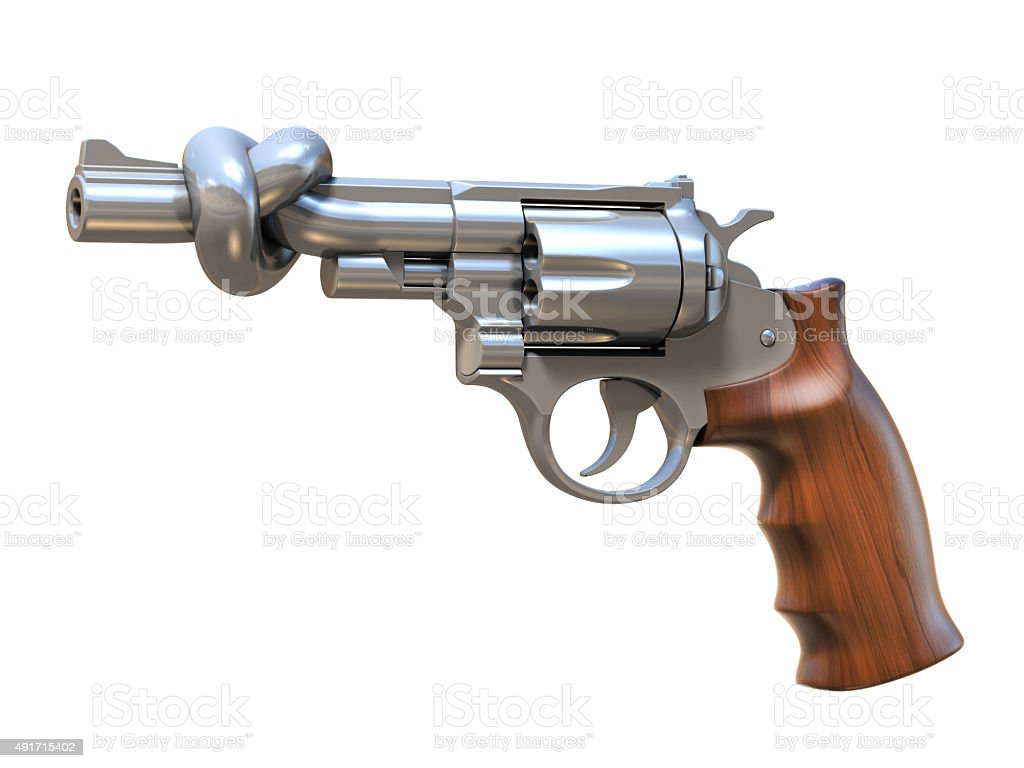 gun tied in a knot stock photo