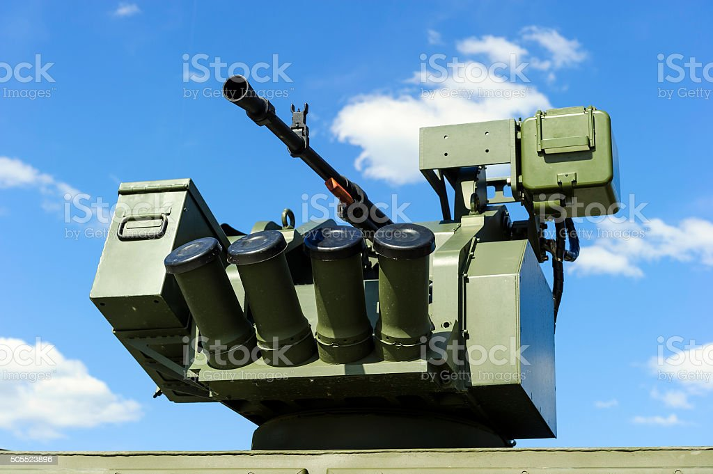 Gun turret with grenade launcher stock photo