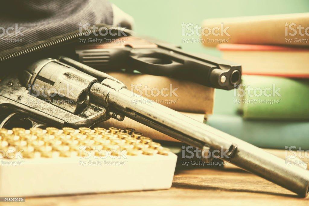 Gun violence in school setting. stock photo