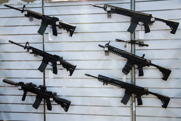 Gun wall rack with rifles Gun wall rack with rifles ar 15 stock pictures, royalty-free photos & images