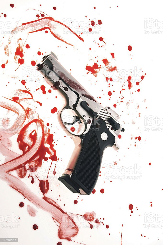 Gun with blood royalty-free stock photo